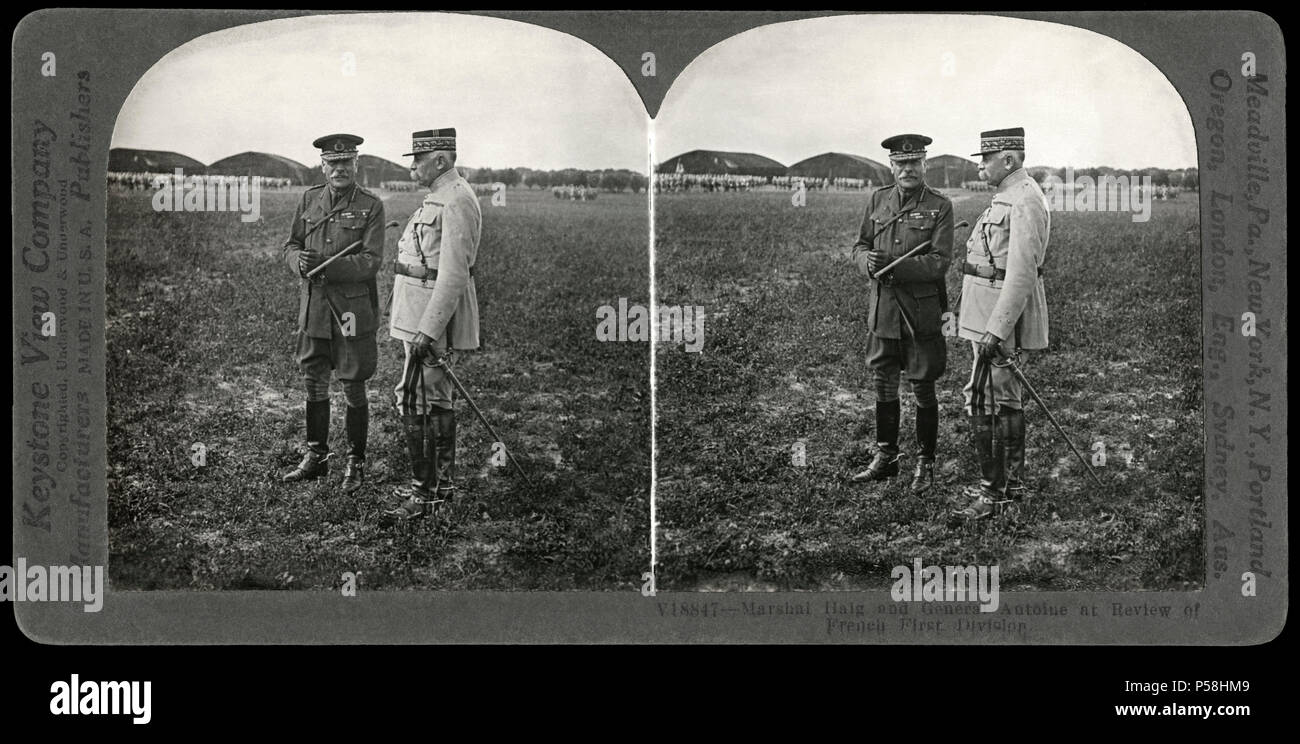 Marshal Haig & General Antoine at Review of French First Division, France, Stereo Card, Keystone View Company, 1914-18 - Stock Image