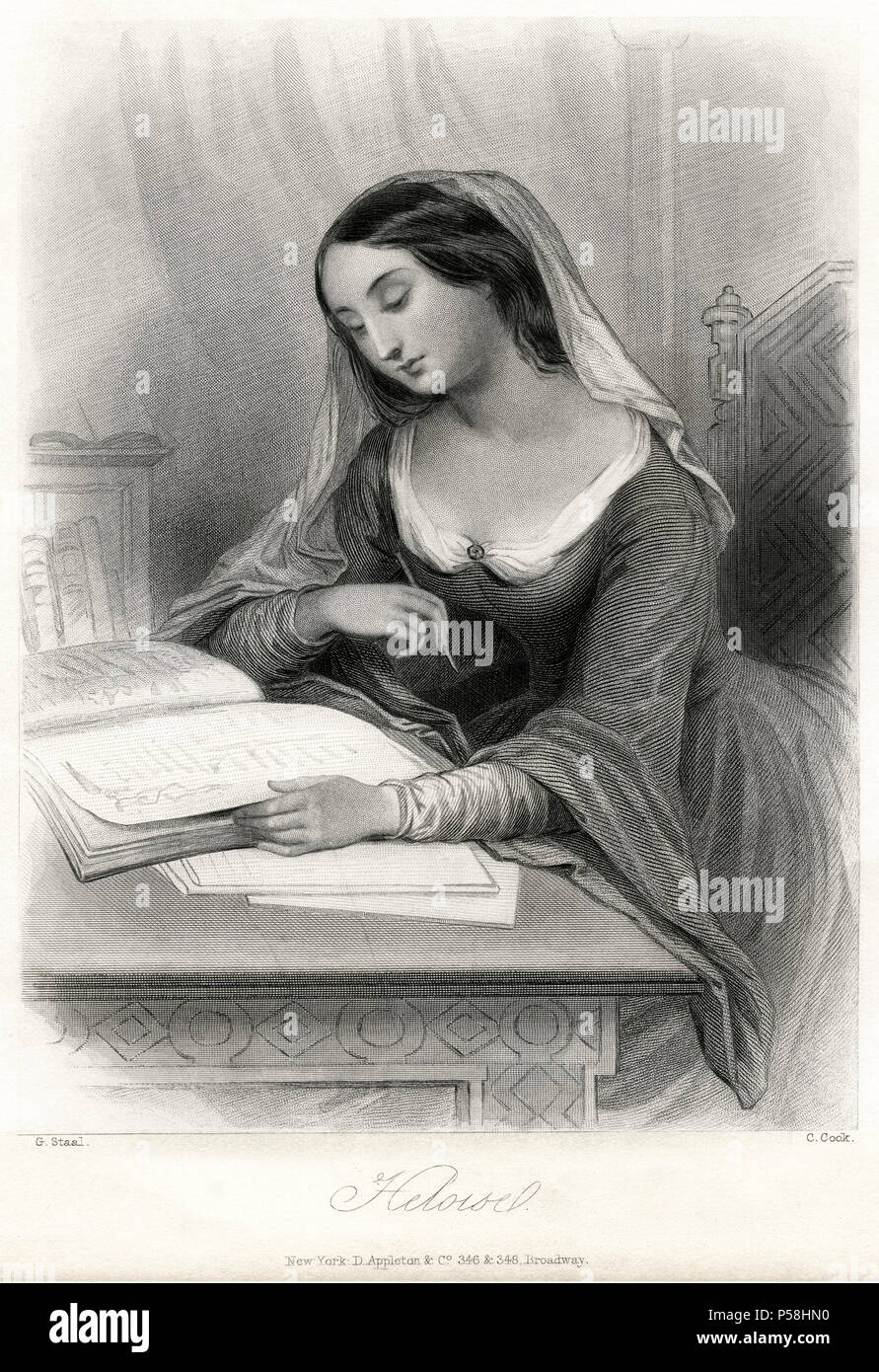 Heloise, French Nun, Writer and Scholar, Best Known for her Love Affair with Peter Abelard, Portrait, mid-19th Century Engraving - Stock Image