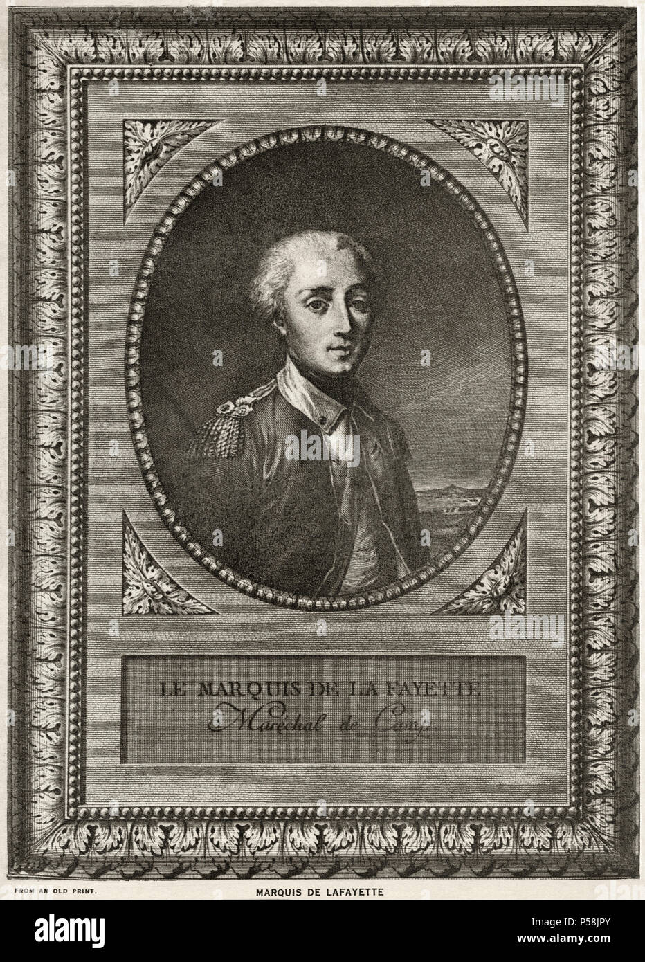 Marquis de Lafayette (1757-1834), French Aristocrat and Miliary Officer, Fought in American Revolutionary War, Portrait Stock Photo