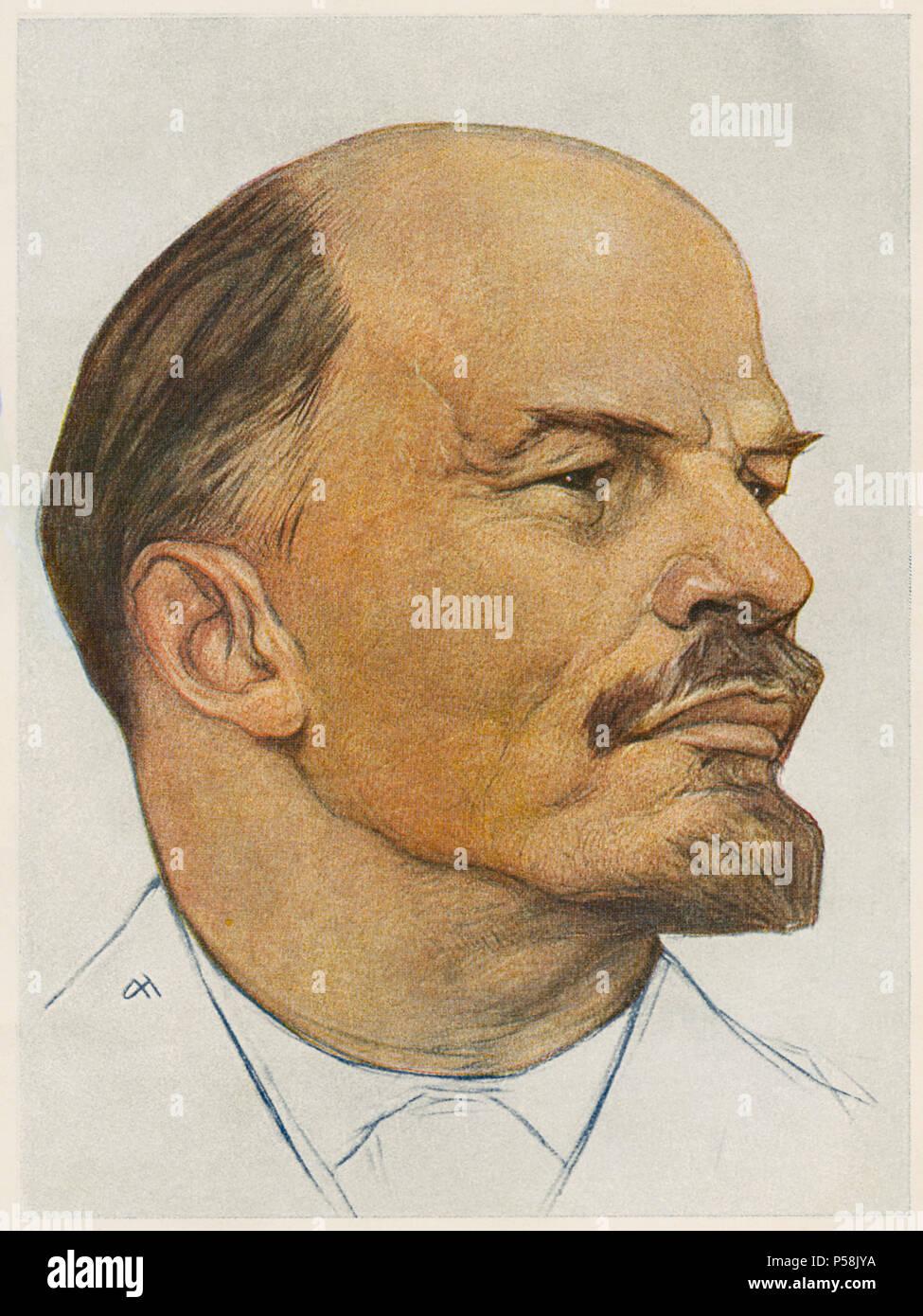 Vladimir Ilyich Lenin (1870-1924), Russian Revolutionary and Premier of the Soviet Union 1922-24, Portrait by Nickolay Andreyev, 1920 - Stock Image