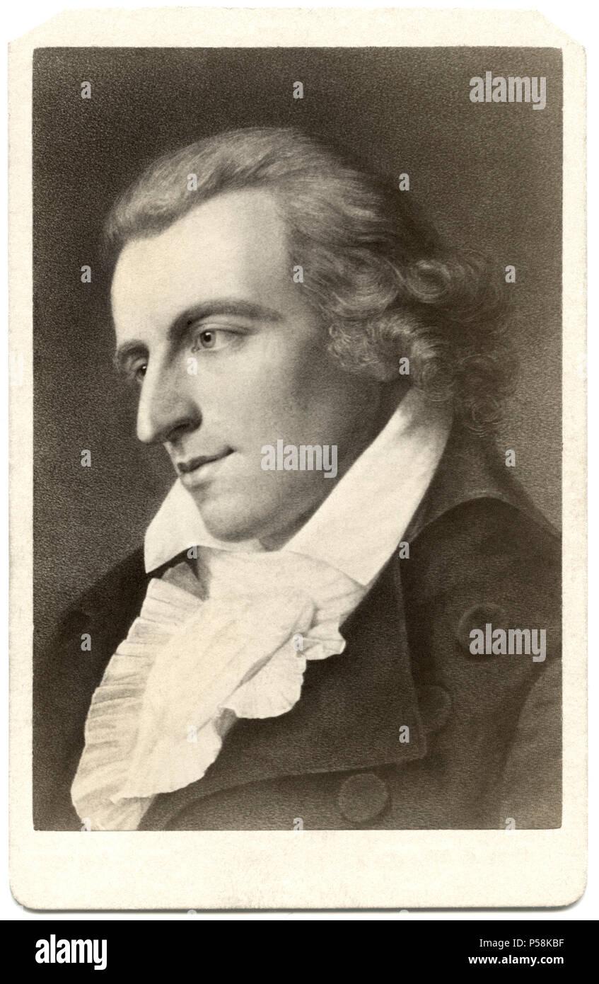 Friedrich Schiller (1759-1805) German Poet, Philosopher, Historian, and Playwright, Portrait, E.H. Schroeder, Berlin, 1793 - Stock Image