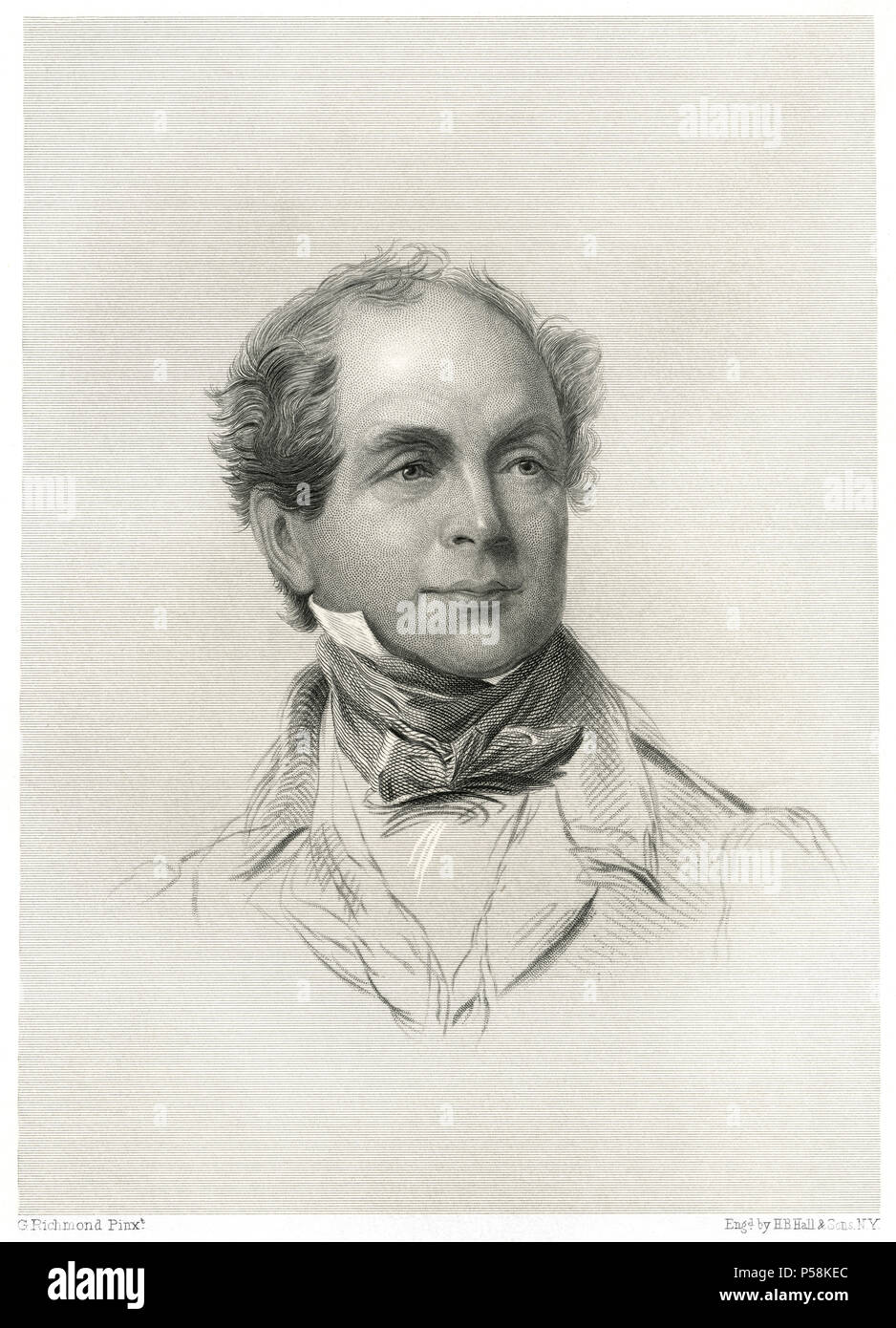Thomas Moore (1779-1852), Irish Poet, Songwriter and Entertainer, Head and Shoulders Portrait, Engraving by H.B. Hall & Sons, 1876 - Stock Image