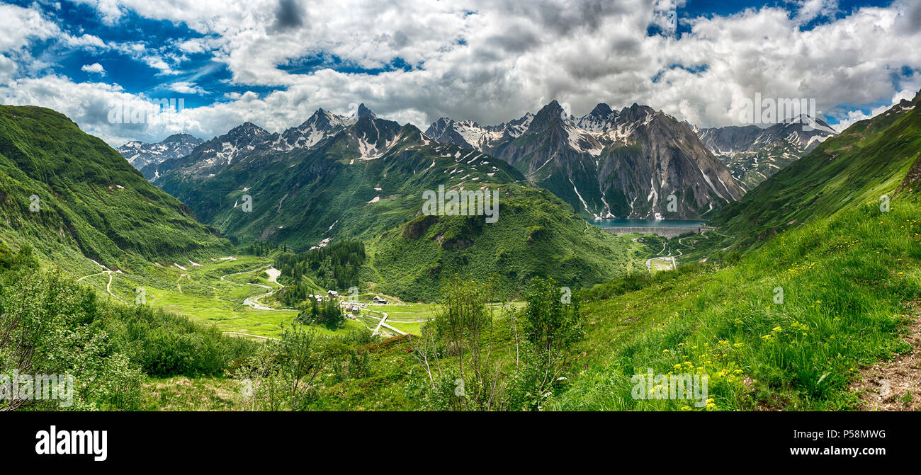 great panorama on the Formazza Valley in spring season with little village of Riale and Lake of Morasco, Piedmont - Italy - Stock Image