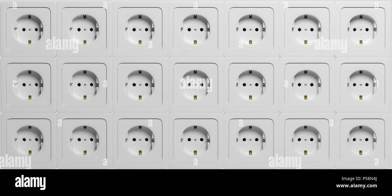 White electric power sockets, european type, background. 3d illustration Stock Photo