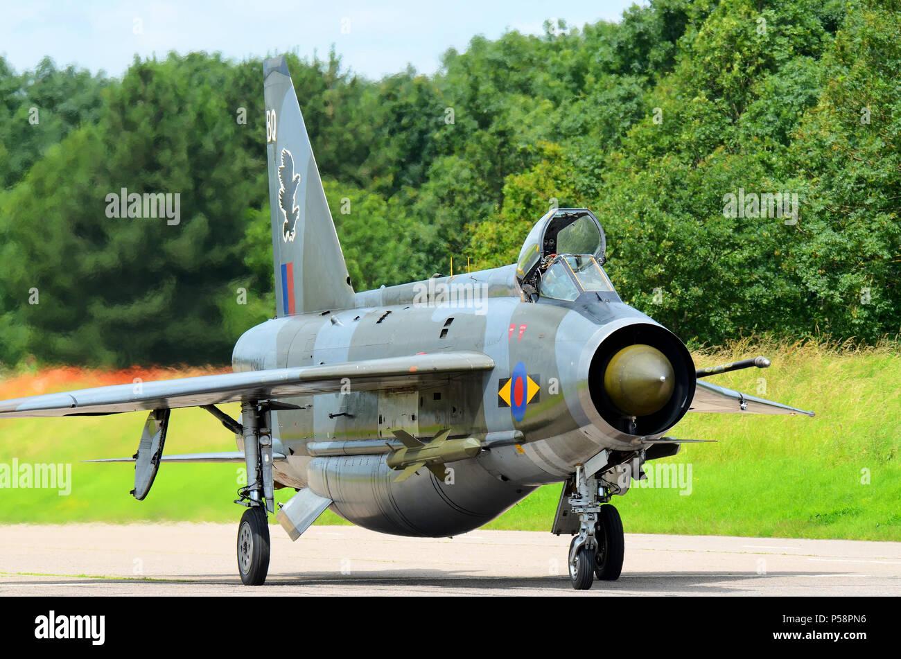 English Electric Lightning jet plane fighter. Demobilised RAF Royal Air Force Cold War aircraft. At Bruntingthorpe with Lightning Preservation Group - Stock Image