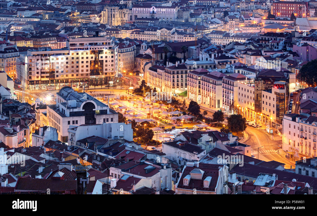 Aerial view of Lisbon, Portugal - Stock Image