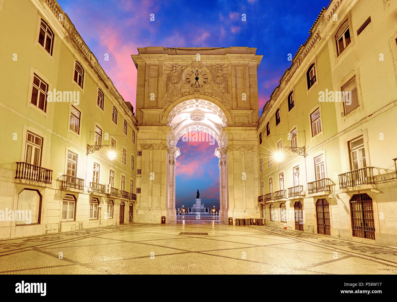 Lisbon -  Praca do Comercio, Portugal - Stock Image