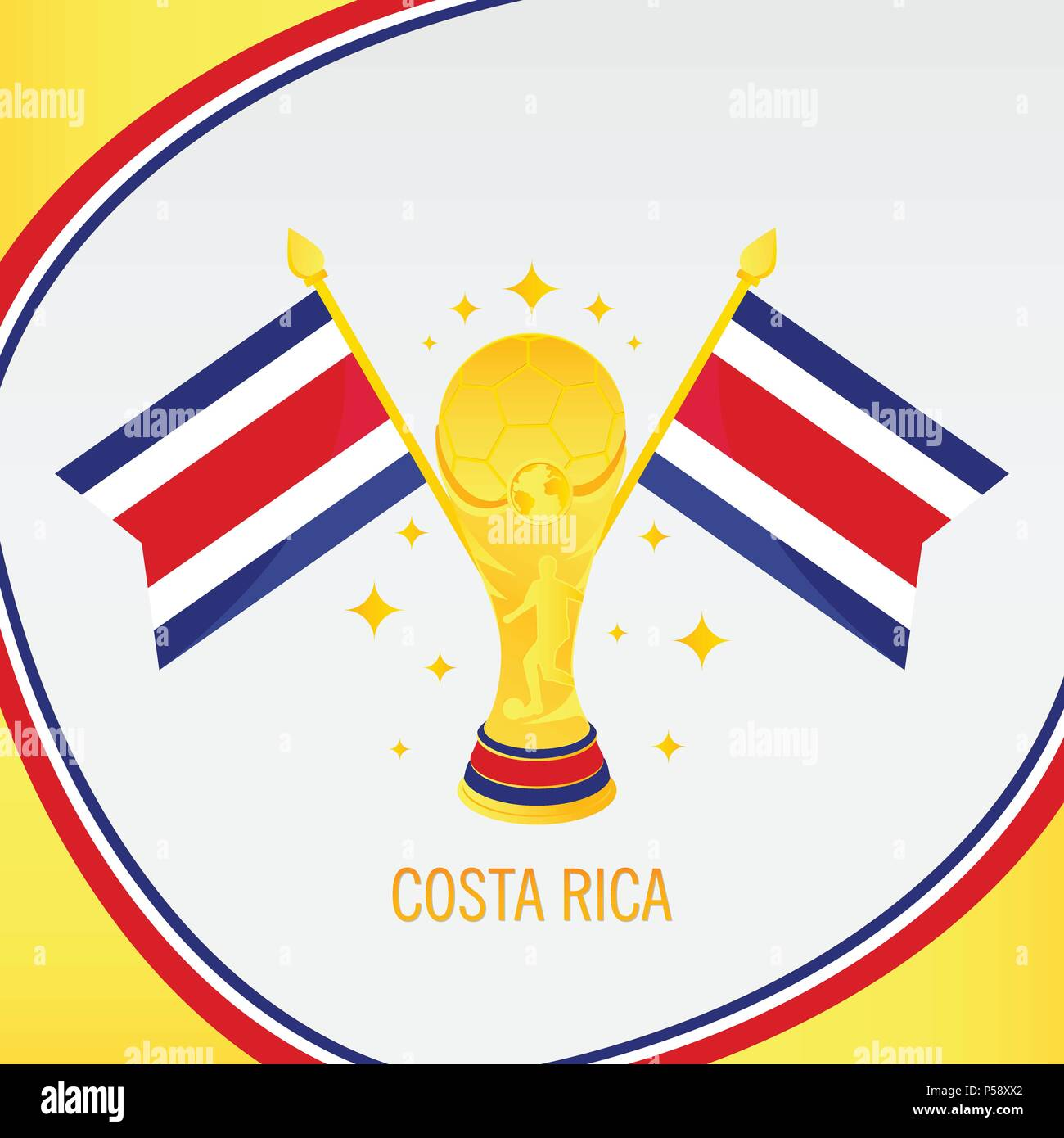 ddff4ff8ef0 Costa Rica Football Champion 2018 - Flag and Golden Trophy / Cup - Stock  Vector