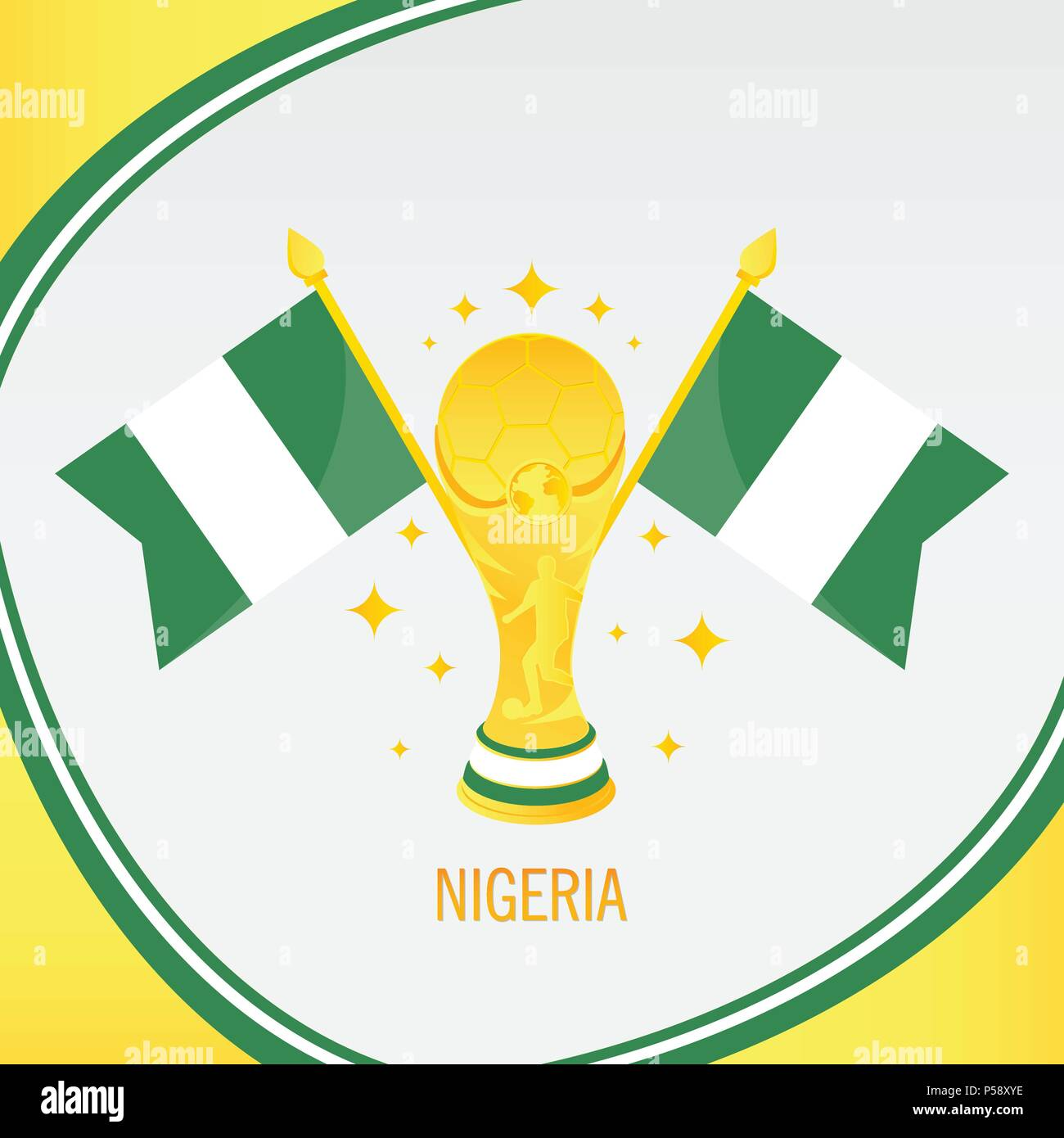 Nigeria Football Champion 2018 - Flag and Golden Trophy / Cup - Stock Vector