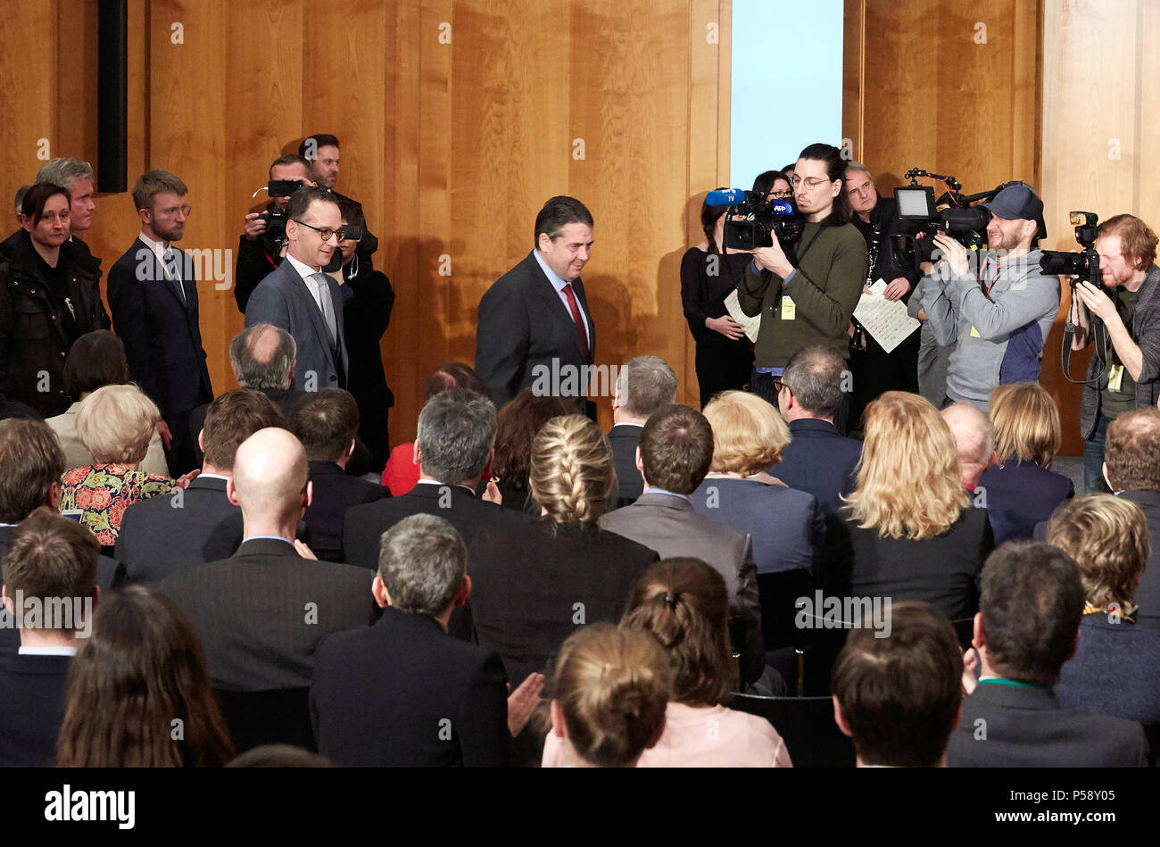 Berlin, Germany - Sigmar Gabriel and Heiko Maas at the official handover in the World Hall of the Foreign Ministry. - Stock Image