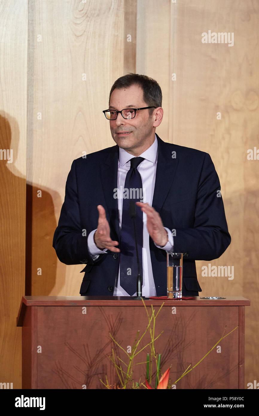 Berlin, Germany - Secretary of State Rainer Sontowski gives a speech at the ministerial change in the World Hall of the Foreign Ministry. - Stock Image