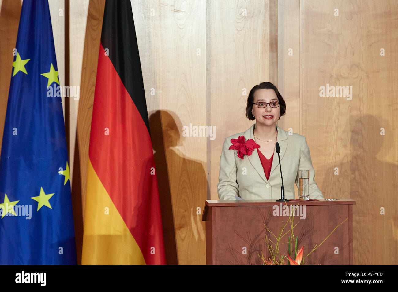 Berlin, Germany - Outgoing Foreign Minister Sigmar Gabriel holds his farewell speech at the ministerial change in the World Hall of the Foreign Ministry. - Stock Image