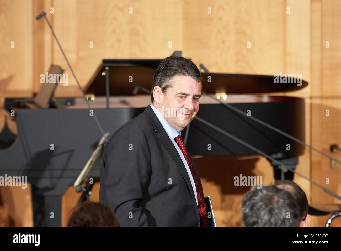 Berlin, Germany - Outgoing Foreign Minister Sigmar Gabriel at the ministerial change in the World Hall of the Foreign Ministry. - Stock Image