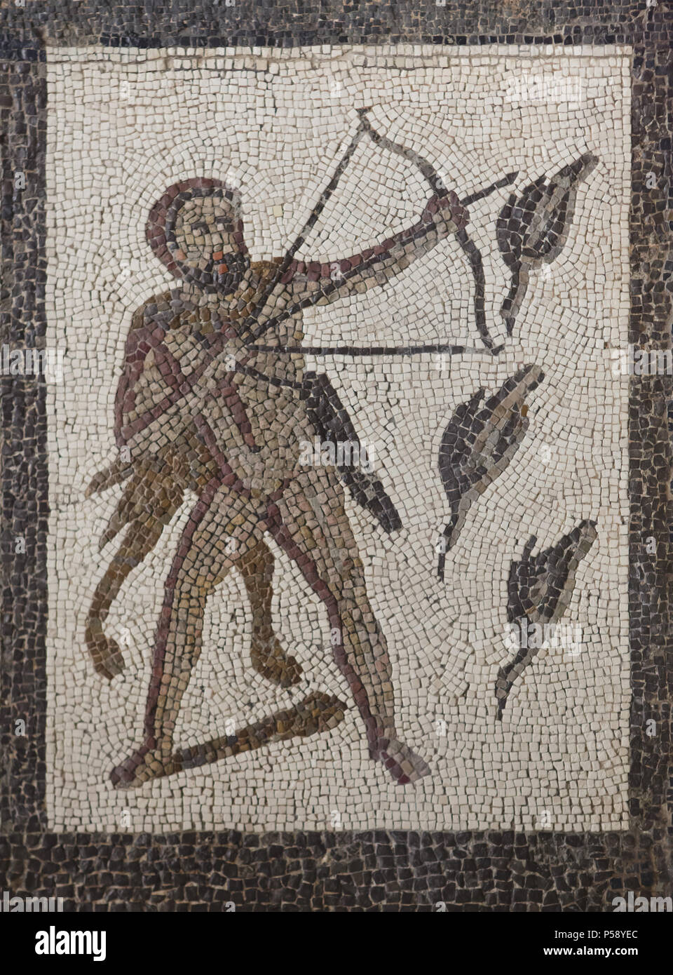 Heracles killing the Stymphalian Birds. Labours of Heracles depicted in the Roman mosaic dated from the 3rd century AD from Llíria (Valencia Province, Spain) on display in the National Archaeological Museum (Museo Arqueológico Nacional) in Madrid, Spain. Stock Photo