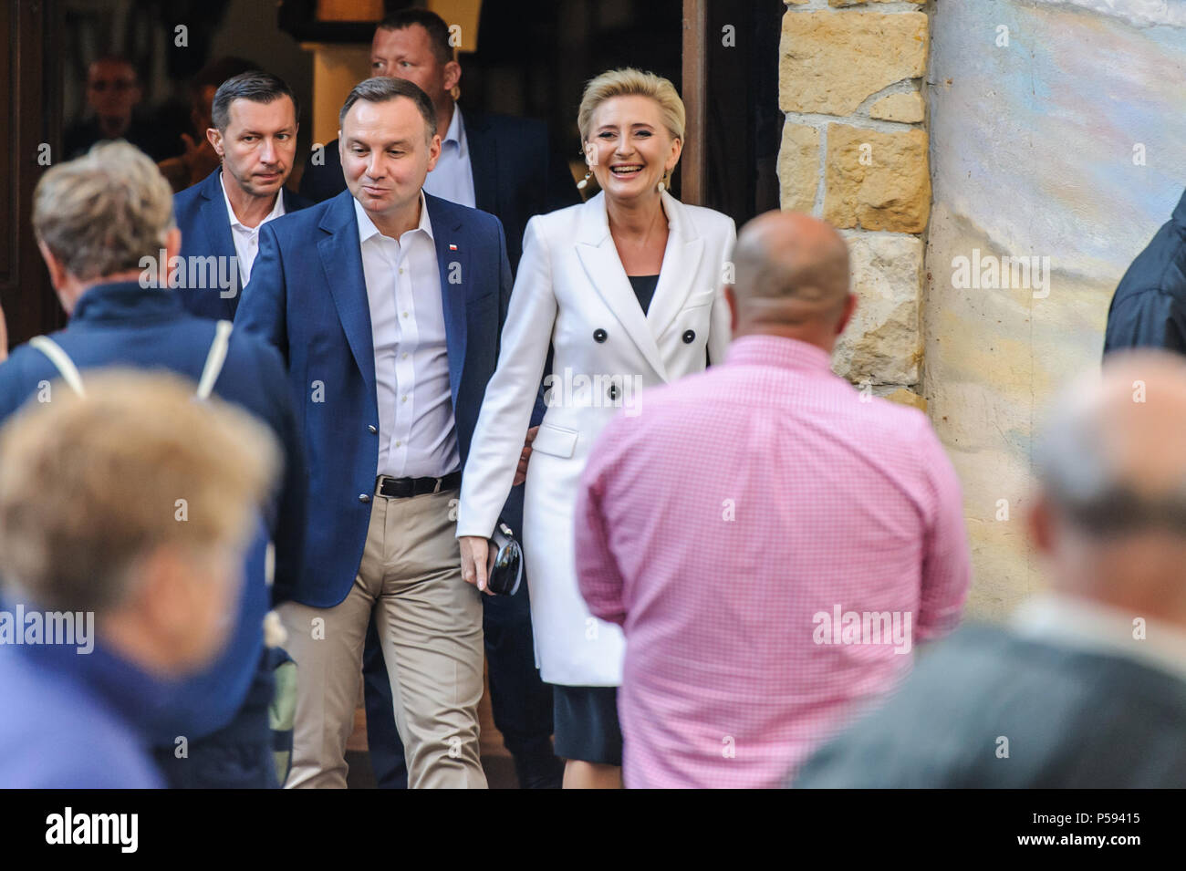 Jurata poland 06232018 the andrzej duda president of poland jurata poland 06232018 the andrzej duda president of poland and his wife greet people after leaving the church m4hsunfo