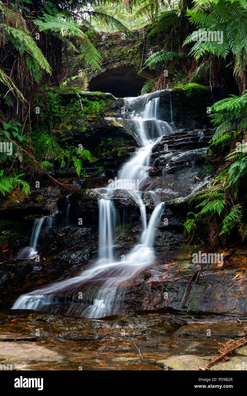 A long exposure of Leura Cascades in the Blue Mountains New South Wales on 13th June 2018 - Stock Image