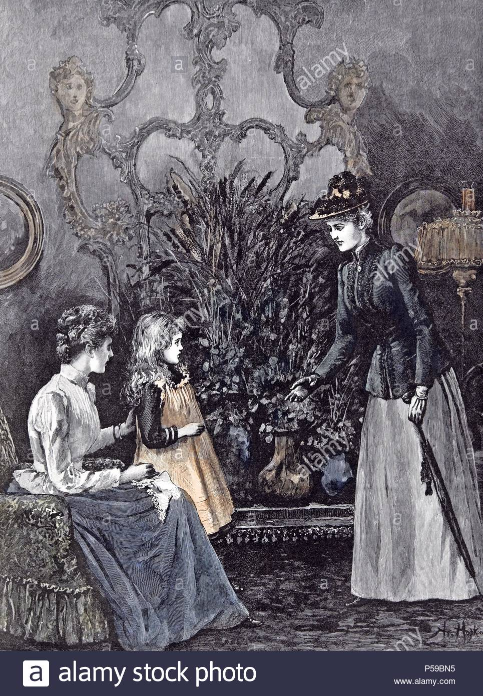 The New Governess; A. Hopkins; Child; 1892;, shy; anticipation; umbrella; skirt; black gloves; baroque interior; baroque decoration; pots; flowers; plants; mirror; sofa; handkerchief; hat; ovall silhouette; collar; under-sleeves; expectations; lad; gas lamp;. - Stock Image