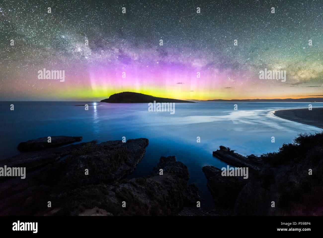 Blue Hour Aurora over Betsey Island - Stock Image