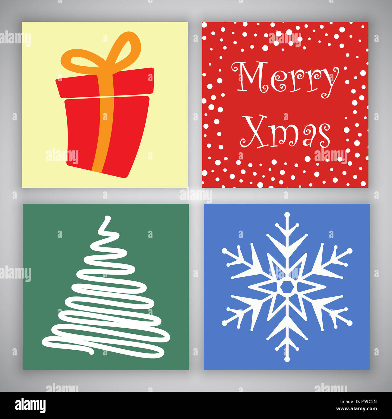 Collection Of Cute Christmas Card Designs Stock Photo 209804833 Alamy