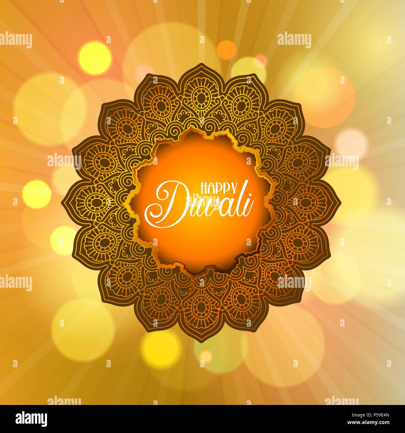 Decorative Diwali background with mandala frame Stock Photo