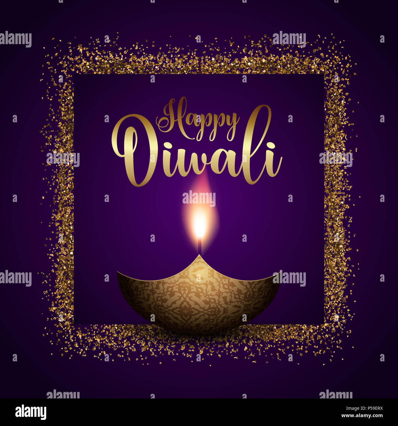 Happy Diwali background with gold glitter frame Stock Photo