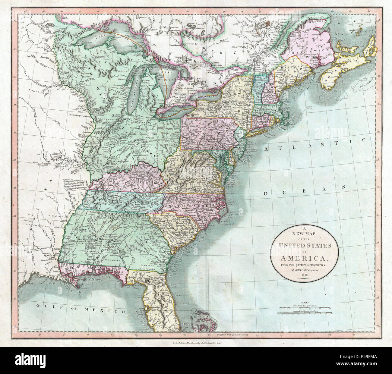 1806 Cary Map of the United States east of the Mississippi ...