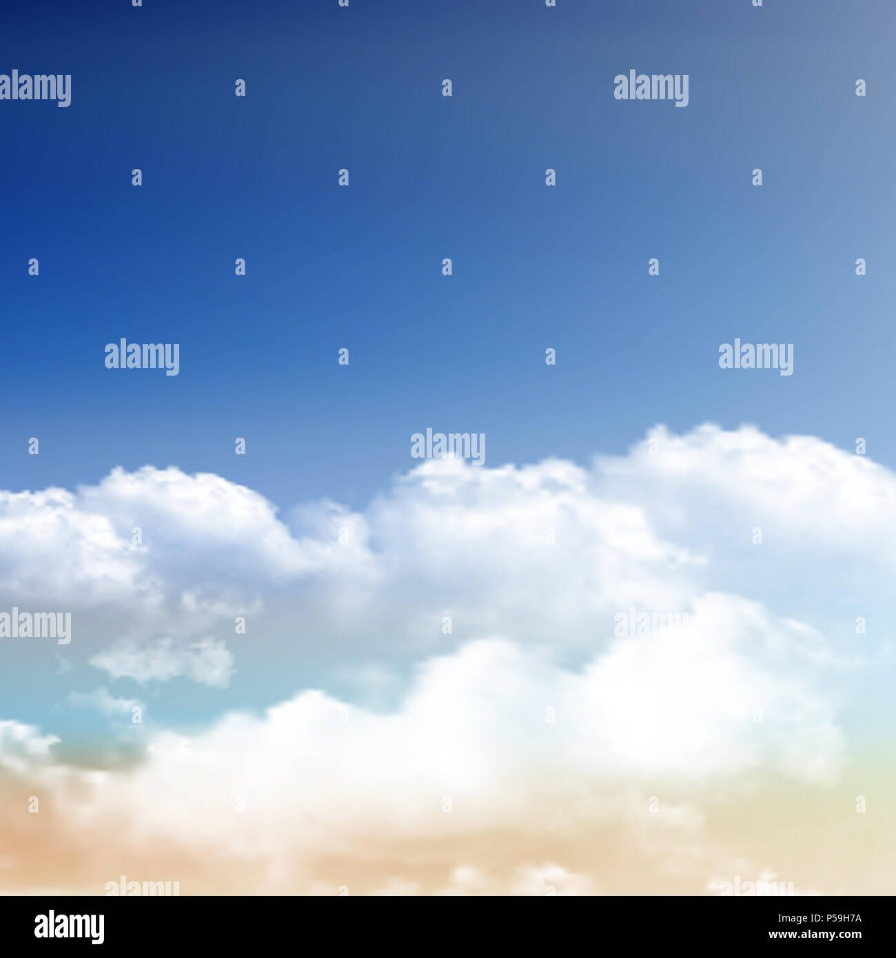 Realistic fluffy clouds on a blue sky background - Stock Image