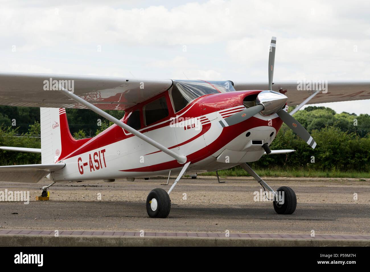 Cessna 180 at Turweston Aerodrome, Buckinghamshire, UK (G-ASIT) - Stock Image