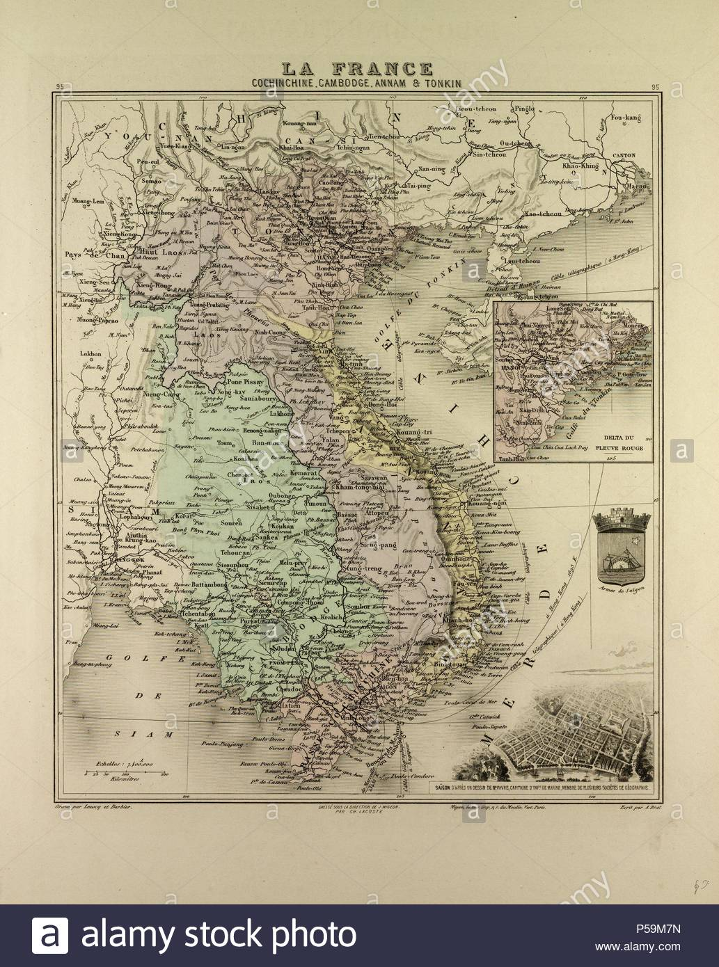 Map Of Vietnam Cambodia Thailand Laos 1896 Stock Photo
