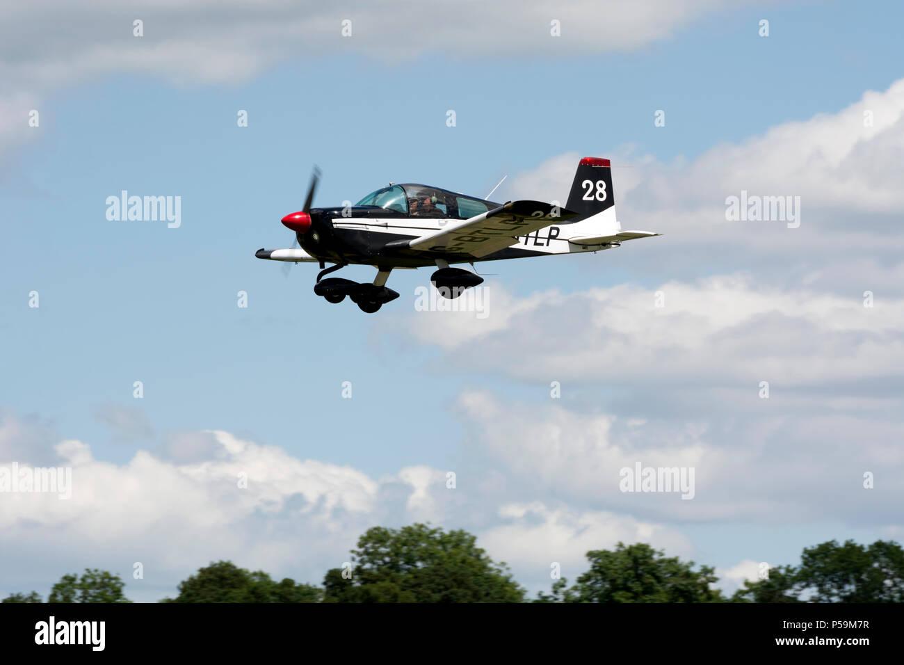 Grumman American AA-1C Lynx landing at Turweston Aerodrome, Buckinghamshire, UK (G-BTLP) - Stock Image