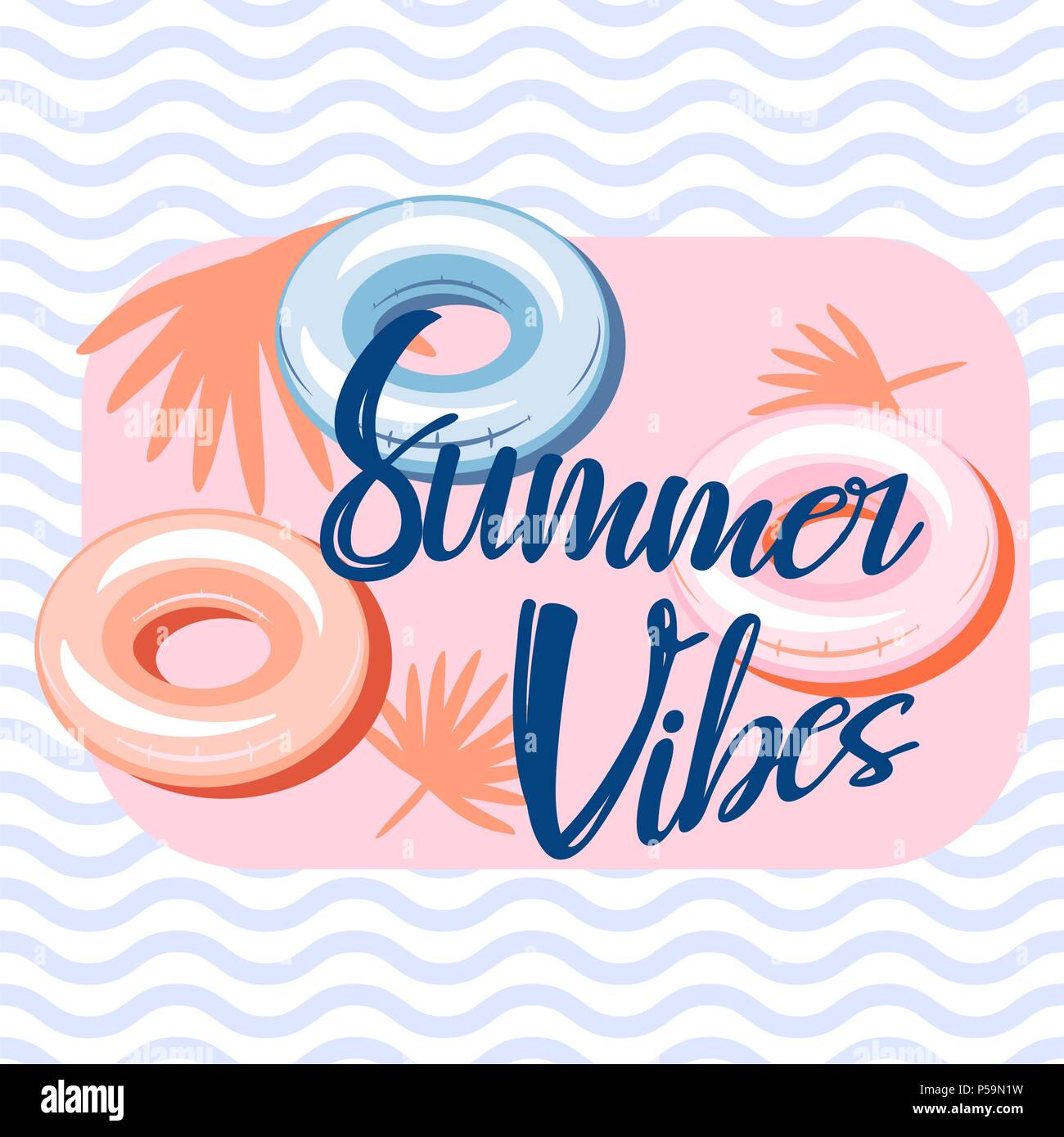 Summer vibes pool banner template design. Stock Vector