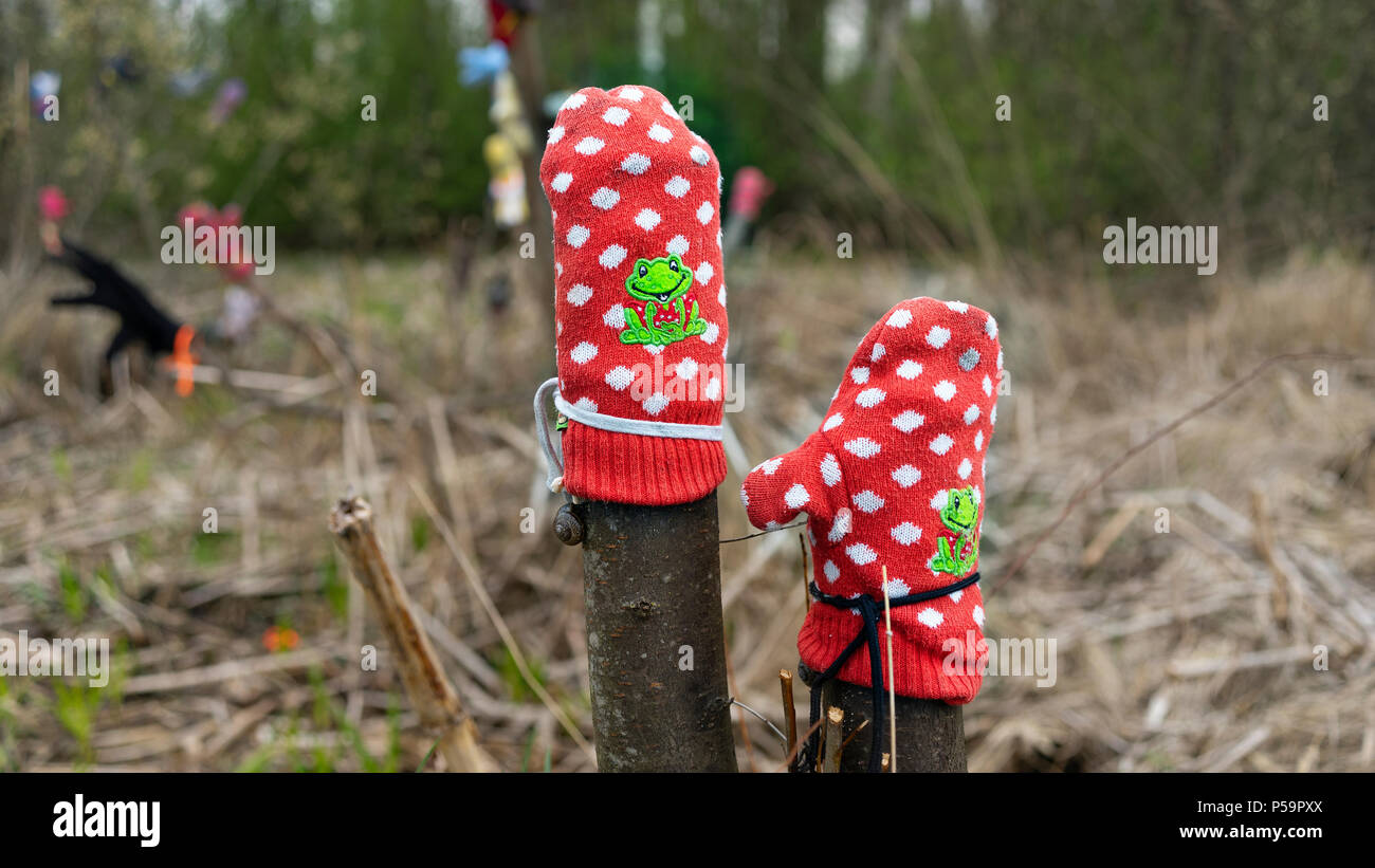 Forgotten in the forest mittens - Stock Image