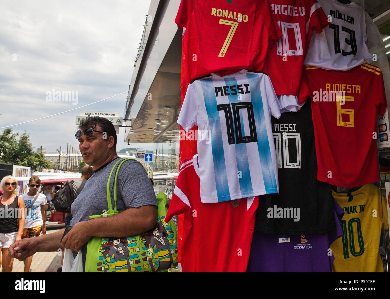 sports shoes d62a9 3e7ee SOCHI, RUSSIA – JUNE 25, 2018: Selling T-shirt with the ...