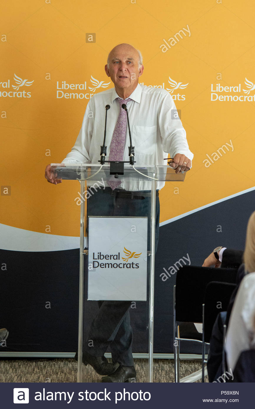 London, UK. 26th June, 2018. The Leader of the Liberal Democrats, Vince Cable, will made a keynote speech outlining his approach to solving the housing crisis at The Royal Institute of British Architects.  Credit: David Nash/Alamy Live News - Stock Image