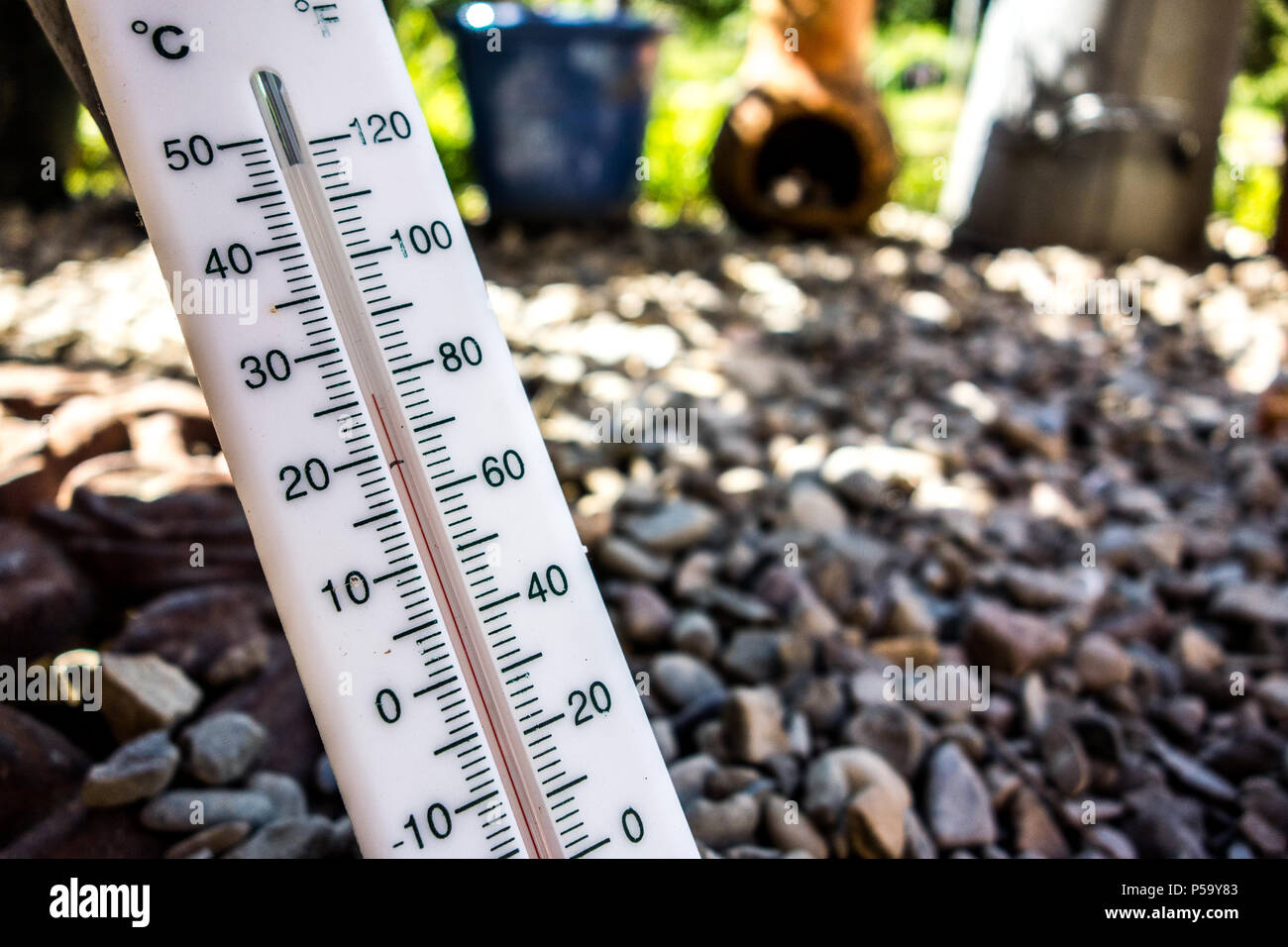 Leominster Herefordshire UK 26th June 2018 A Garden Thermometer Is Seen Reading 25 Degrees Celsius 77