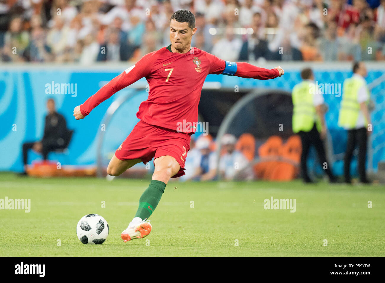 Saransk Russland 26th June 2018 Cristiano Ronaldo Por With Ball Single Action With Ball Action Full