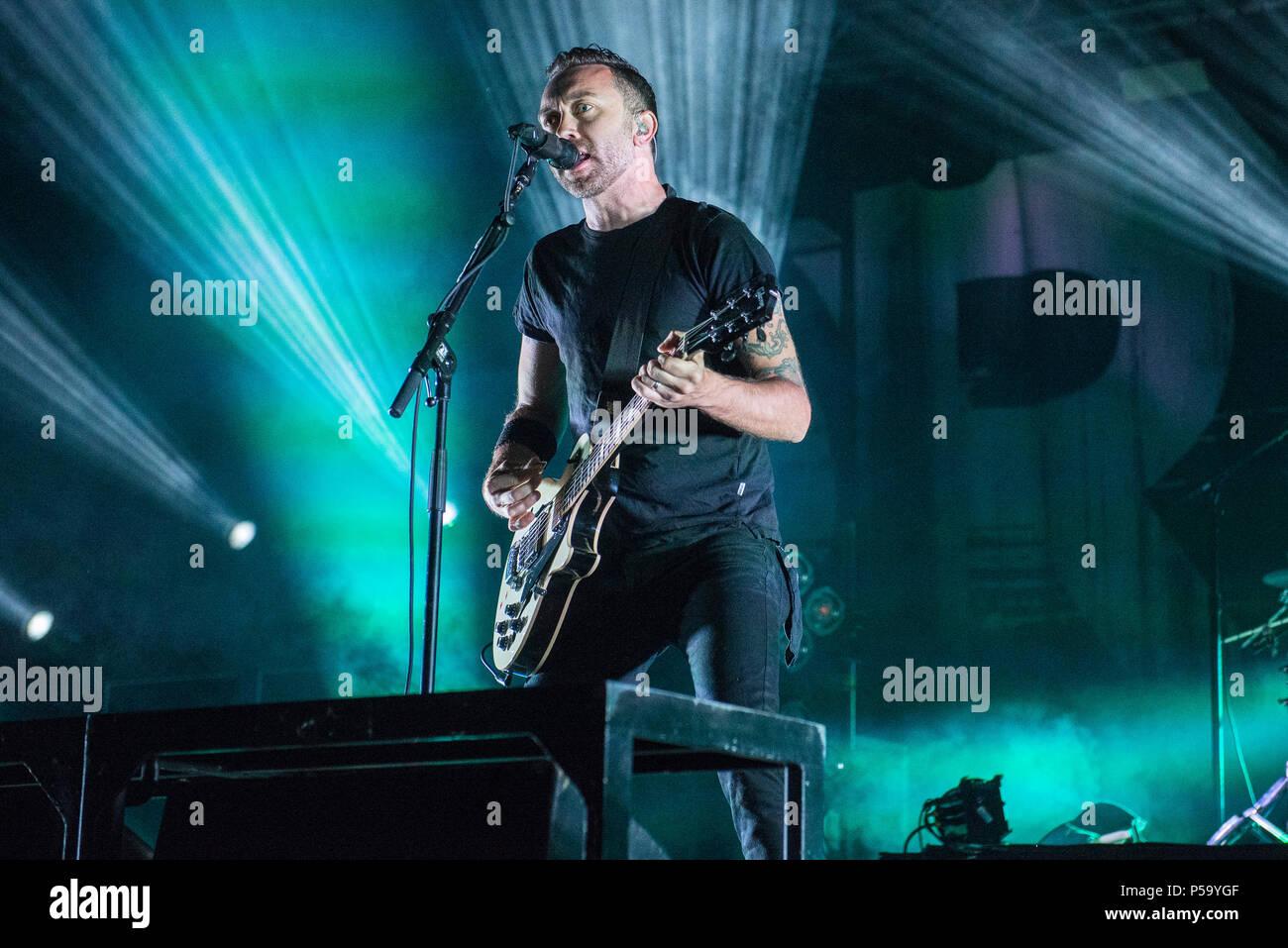June 25, 2018 - Milan, Italy-June 25, 2018: Rise Against punk rock ...