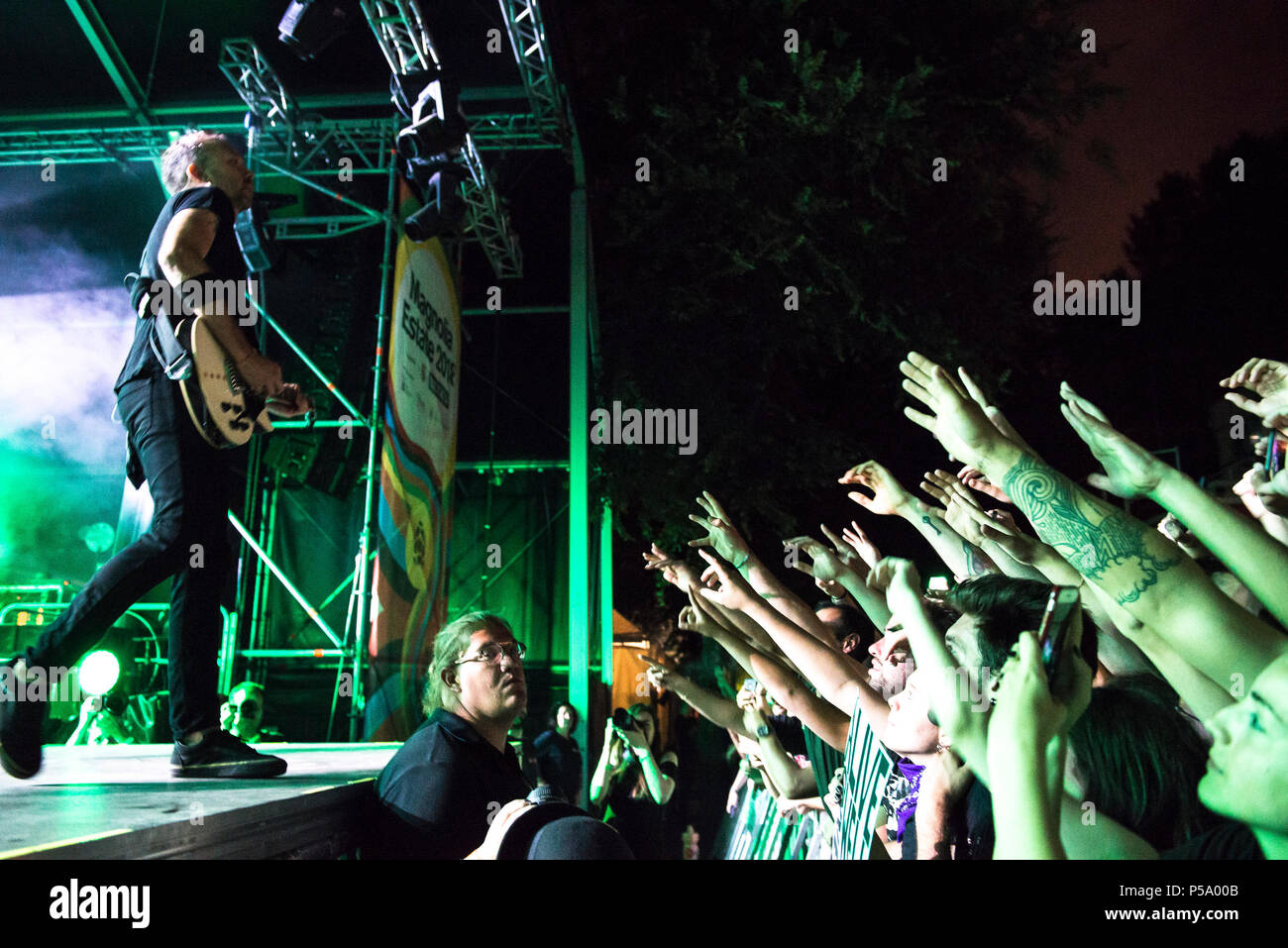 June 25, 2018 - Milan, Italy-June 25, 2018: Rise Against punk rock band from Chicago performs live in Milan Credit: Stefano Guidi/ZUMA Wire/Alamy Live News - Stock Image