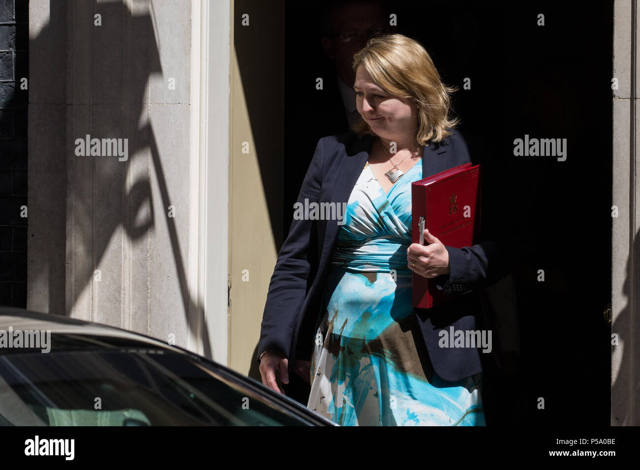 London, UK. 26th June 2018. Karen Bradley MP, Secretary of State for Northern Ireland, leaves 10 Downing Street following a Cabinet meeting. Topics discussed were expected to include a European Council summit meeting to be held later this week and Heathrow expansion. Credit: Mark Kerrison/Alamy Live NewsStock Photo