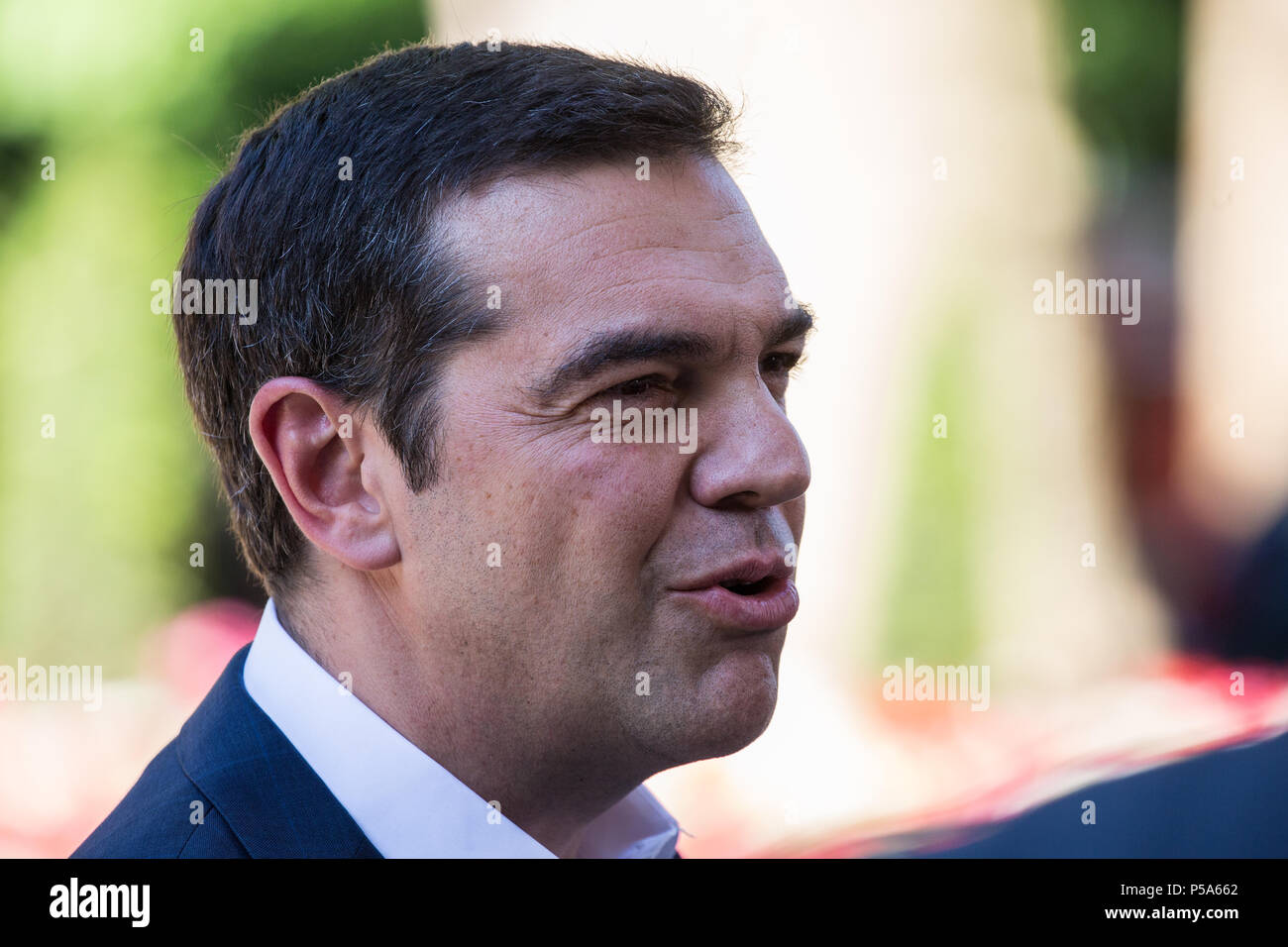 London, UK. 26th June 2018. Greek Prime Minister Alexis Tsipras talks to Greek television after meeting Prime Minister Theresa May at 10 Downing Street. Credit: Mark Kerrison/Alamy Live News - Stock Image