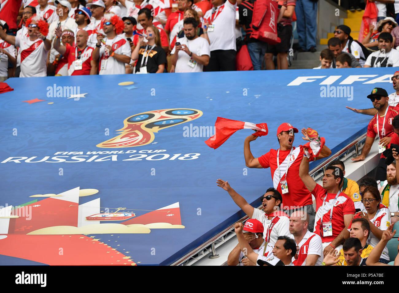 b4aa3aca1dfeca Sochi, Russland. 26th June, 2018. Peruvian fans, football fans . Australia  (AUS) - Peru (PER) 0-2, Preliminary Round, Group C ...
