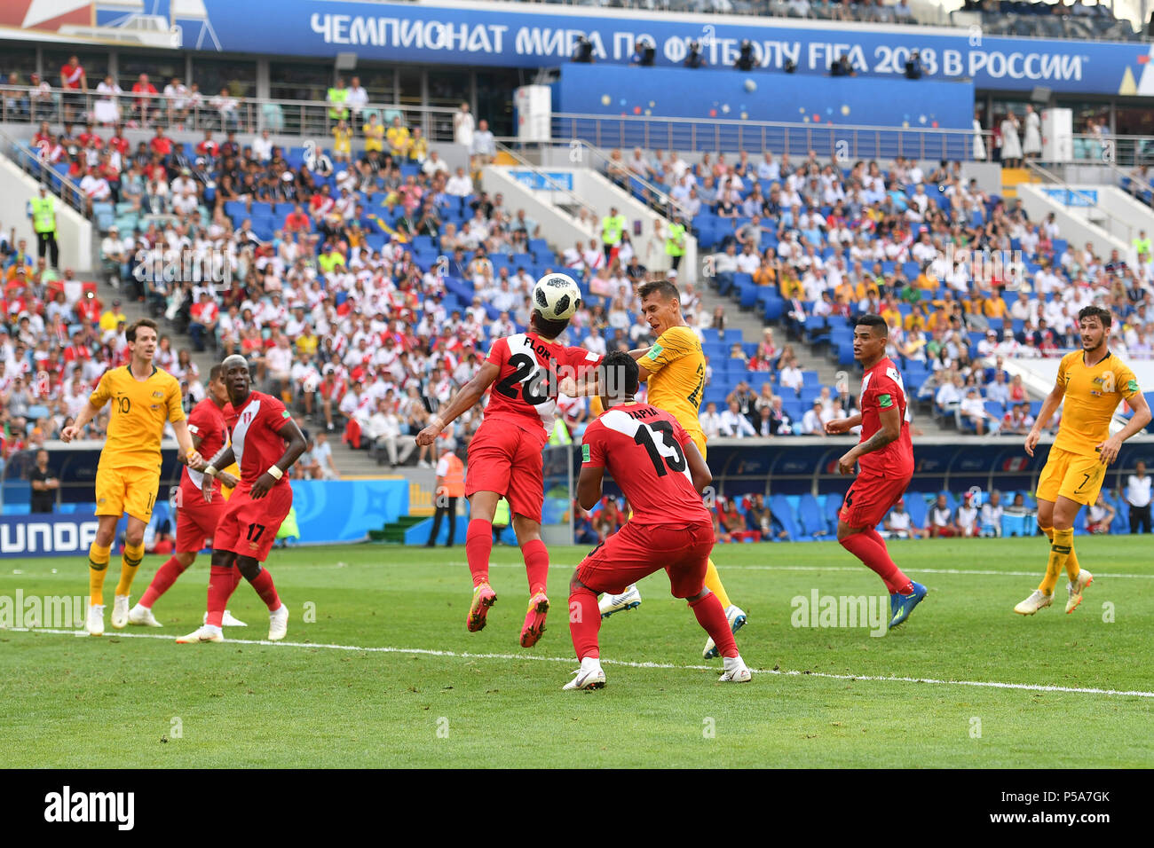 Sochi, Russland. 26th June, 2018. goalchance Tom ROGIC (AUS), Header, Area, Action, duels versus Edison FLORES (PER), Australia (AUS) - Peru (PER) 0-2, Preliminary round, Group C, Game 38, on 06/26/2018 in SOCHI, Fisht Olymipic Stadium. Football World Cup 2018 in Russia from 14.06. - 15.07.2018. | usage worldwide Credit: dpa/Alamy Live News - Stock Image