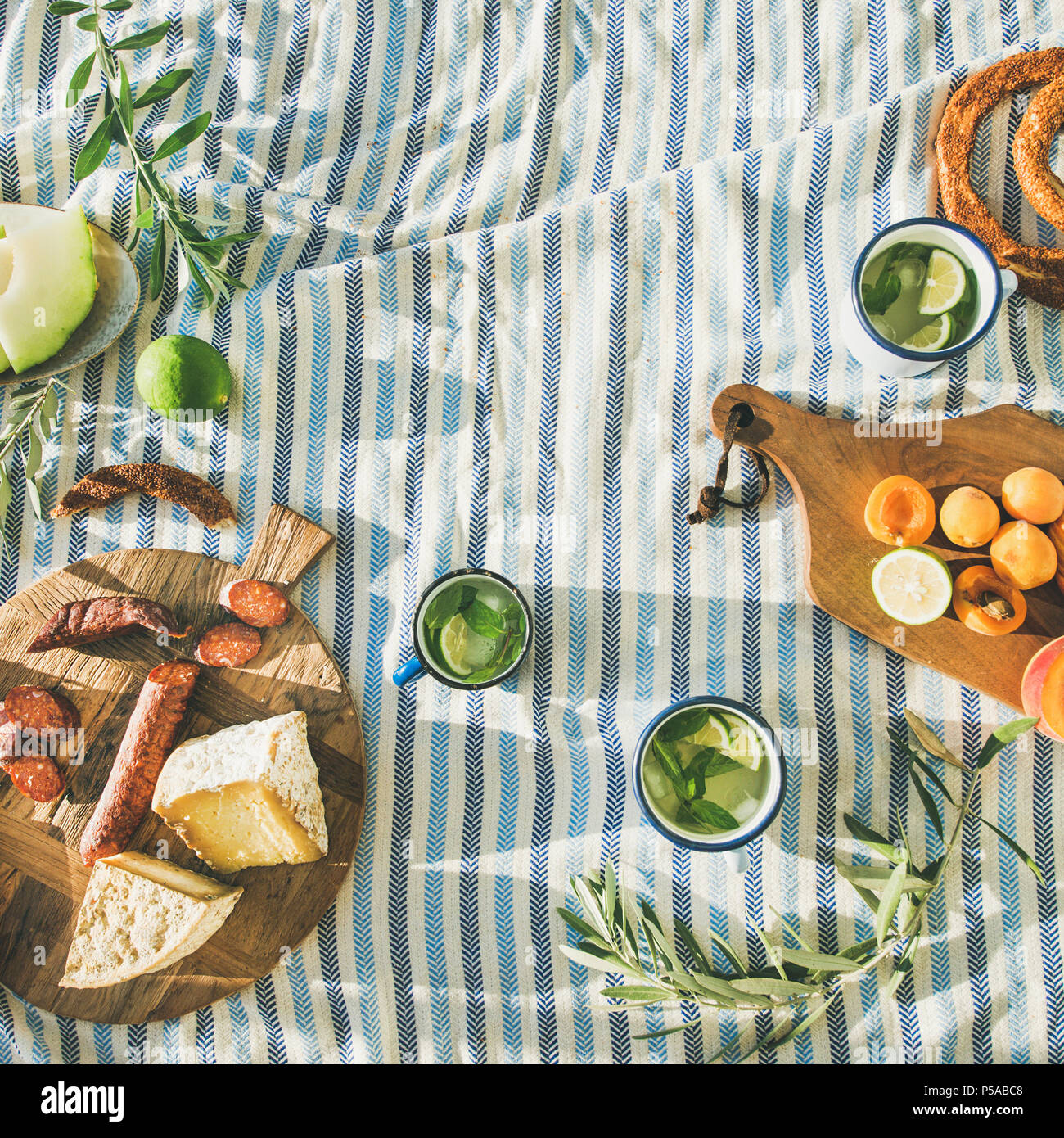 Summer picnic set - Stock Image