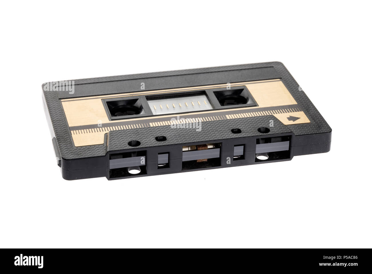 vintage cassette tape isolated white background. Front view - Stock Image