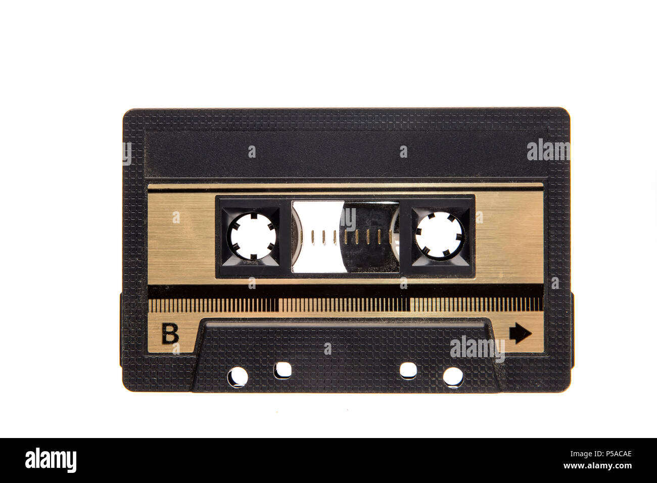 vintage cassette tape isolated white background. Top view - Stock Image