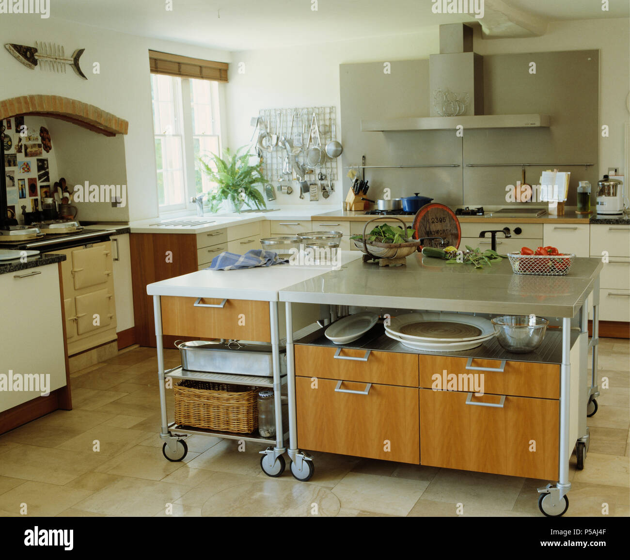 Kitchen Island On Castors Stock Photos & Kitchen Island On ...