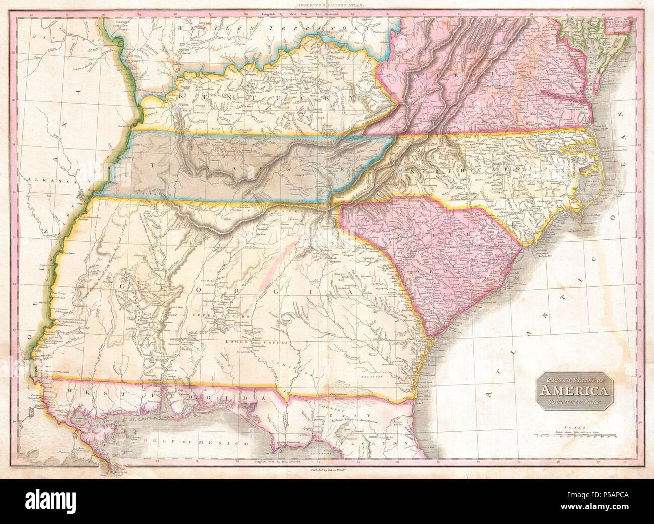 1818 Pinkerton Map of the Southeastern United States, Carolina ...