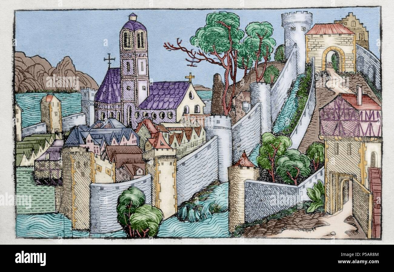 Liber chronicarum by Hartmann Schedel. The city of Alexandria. 15th century. Latin edition. Colored engraving. Episcopal Library. Barcelona. Spain. - Stock Image