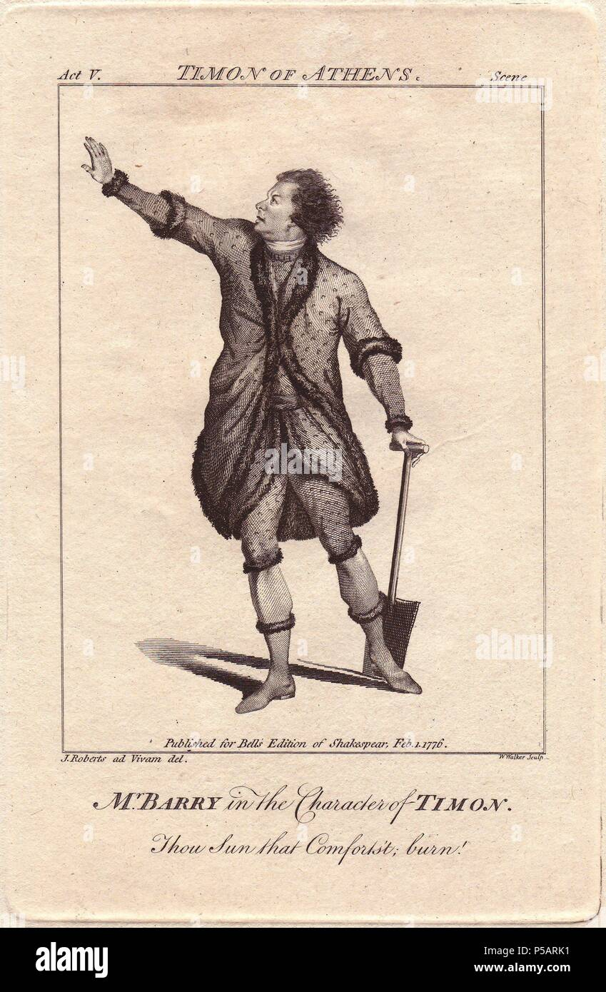 Mr. Spranger Barry as Timon in 'Timon of Athens'. . Barry first performed 'Timon' with his wife Ann Barry at Drury Lane in 1771. He was a fine actor, and while Ann was married to him, she became one of the leading actresses of the 18th century. . . Copperplate engraving from 'Bell's Shakespeare' published by John Bell, London, 1776. Drawn by James Roberts. - Stock Image