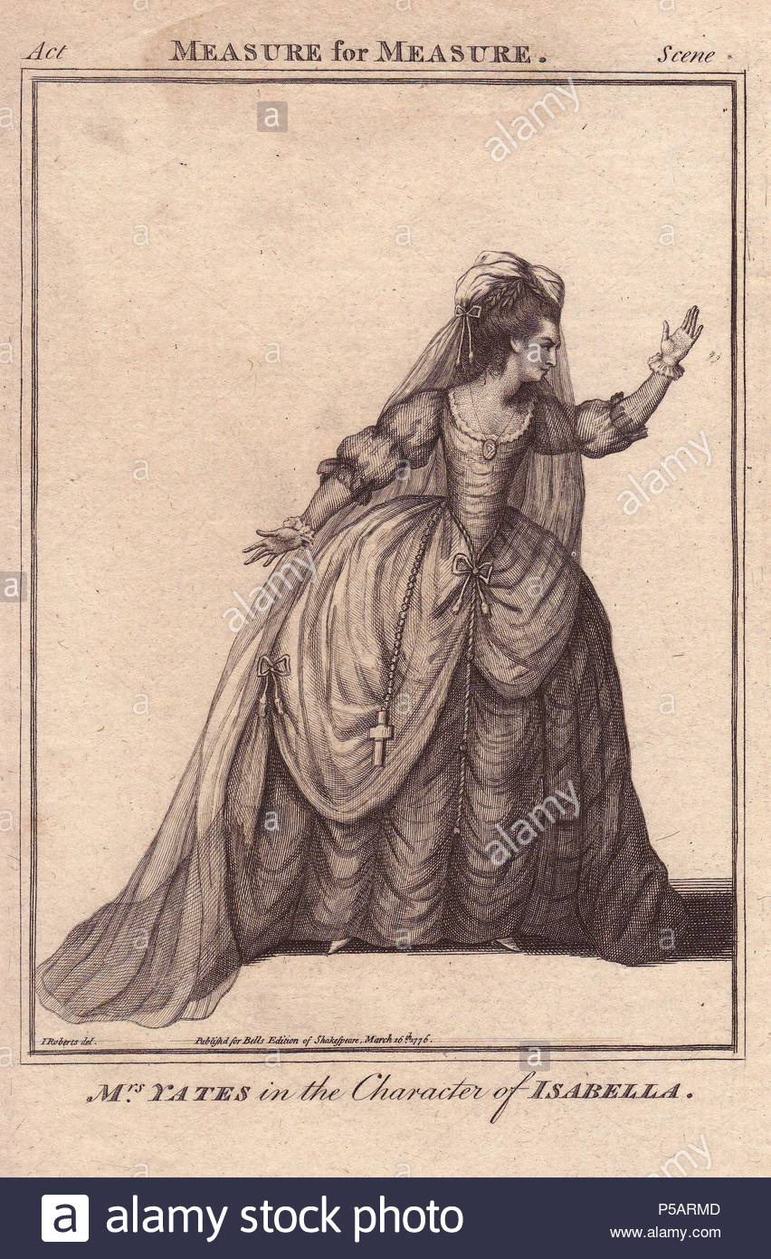 Mrs. Mary Ann Yates as Isabella in 'Measure for Measure.'. . Mary Ann Yates made her debut on the London stage in 'Virginia,' at Drury Lane, in 1754.. . Copperplate engraving from 'Bell's Shakespeare' published by John Bell, London, from 1776. Drawn by James Roberts. - Stock Image